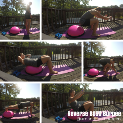 Reverse BOSU Burpee, Total Body Workout, BOSU, Workout Wednesday, Strength Training,